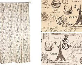 France script shower curtain in  natural or white duck background
