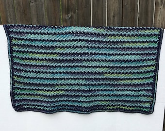 Green, Blue, Navy, Teal  Crocheted Handmade Blanket, Baby Gift, Navy Throw