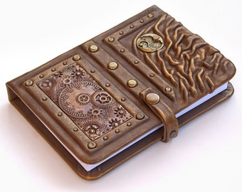 Steampunk leather journal, Personalized, leather notebook, travel journal, travel notebook, writing journal, steampunk, journals with lock