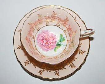 Vintage Paragon Bone China Teacup & Saucer Pink and Gold Large Pink Chrysanthemum