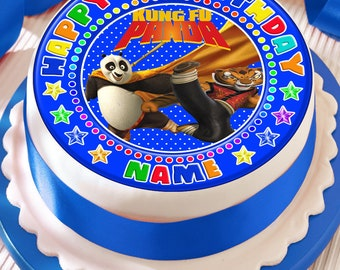 kung fu panda personalised with your age and name precut edible cake topper icing sheet decoration 7.5 inch round