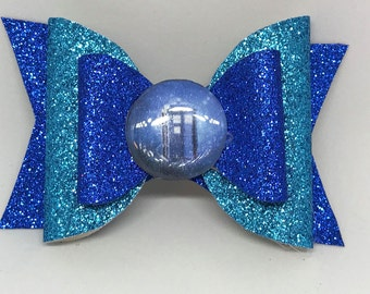 Doctor Who Inspired Bow // Tardis Bow // Dr Who Glitter Bow