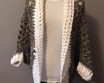 Handmade crocheted cocoon sweater.