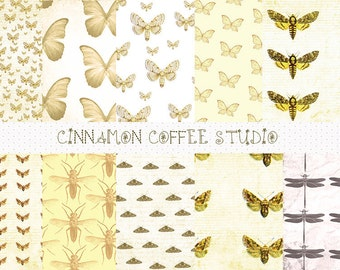 Moth Digital Papers, Butterfly Digital Papers, Dragonfly Patterns, Lady of the Night, Retro, Sepia, Vintage Style