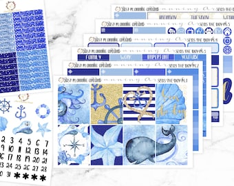 Nautical Planner Kit, Nautical Weekly Kit, Sea Life Planner stickers, for use with Erin Condren