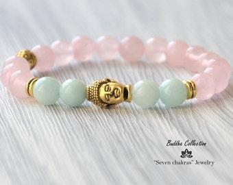 Rose quartz Buddha Bracelet Gemstone Jewelry Beaded bracelet Mala Beads Gemstone Bracelet Yoga Jewelry Energy Bracelet Yoga Bracelet