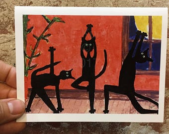 Yoga Cat Card - Black Cat Card - Cat Art - Cats Doing Yoga - Blank Note Card - Gift for Cat Lover