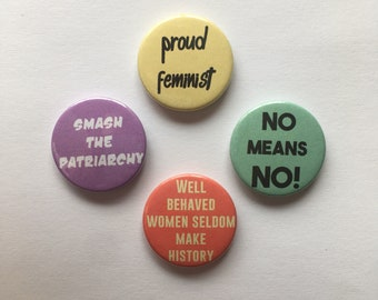 Set of 4 Feminist Button Badges Political Feminism Pins