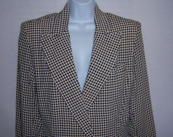 Vintage Laundry by Shelli Segal Black Off White Houndstooth Check Print Boyfriend Double Breasted Blazer Jacket Large L Deadstock NOS NWT