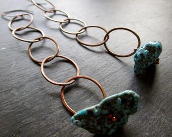 Turquoise & Copper Metalliferous Circle Earrings -Super Long - Etsy Jewelry - catROCKS - Blue Matrix - Dangle - Grace Frankie - OOAK