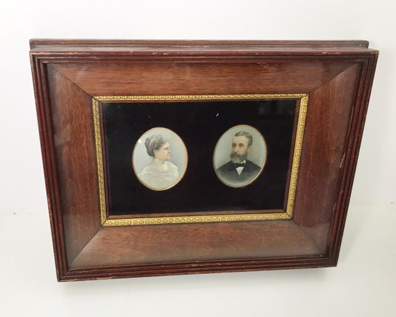 Antique Victorian Miniature Portraits of an Older Couple with Exquisite Detail