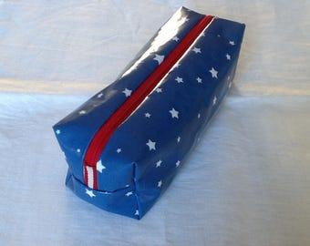 Pencil case Blue indigo with white stars