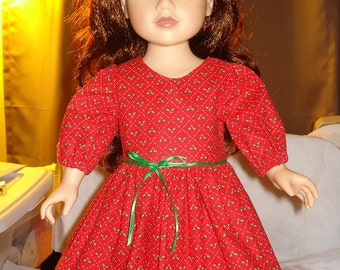 Modest Christmas dress in red with holly print for American Girl Dolls - ag109