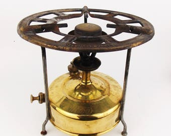 Vintage 1940s MEVA Portable Brass Petrol Cooker Outdoor Camping Stove