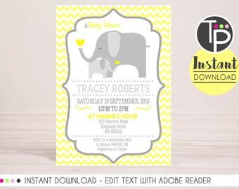 Neutral ELEPHANT Baby Shower Invitation, Instant download Invitation, Yellow Elephant Baby Shower, Elephant Baby Shower, Editable Invitation