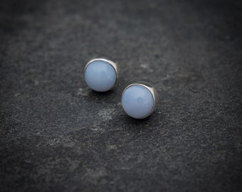 Blue Chalcedony Earrings, Silver Stud Earrings, Blue Earrings, Gemstone Earrings, Semi Precious Stone, Sterling Silver,