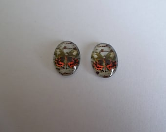 1 set of 2 Butterfly print glass oval cabochon