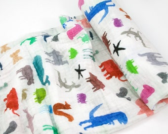 """Muslin Swaddle Blanket in Watercolor Animals - made from 100% cotton double gauze - 45"""" square"""