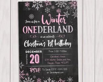 WINTER ONEDERLAND Invitation Chalkboard, Winter Onederland Birthday Party Invitation, Winter Wonderland First Birthday Party