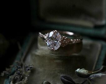 Oval Moissanite Engagement Ring, 14 Karat Gold Engagement Ring, Forever One Moissanite Ring, Diamond Alternative Ring, Rose Gold Ring.