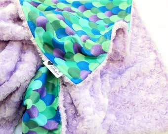 Baby or Toddler Blanket- Gorgeous Watercolor Mermaid Purple Glitter Sparkly Lavender Teal Mosaic Baby Blanket Featuring Minky and Plush Mink
