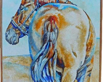 "SALE Original Sorrel Horse Oil Painting 20""x24"" with a hemlock slat frame"