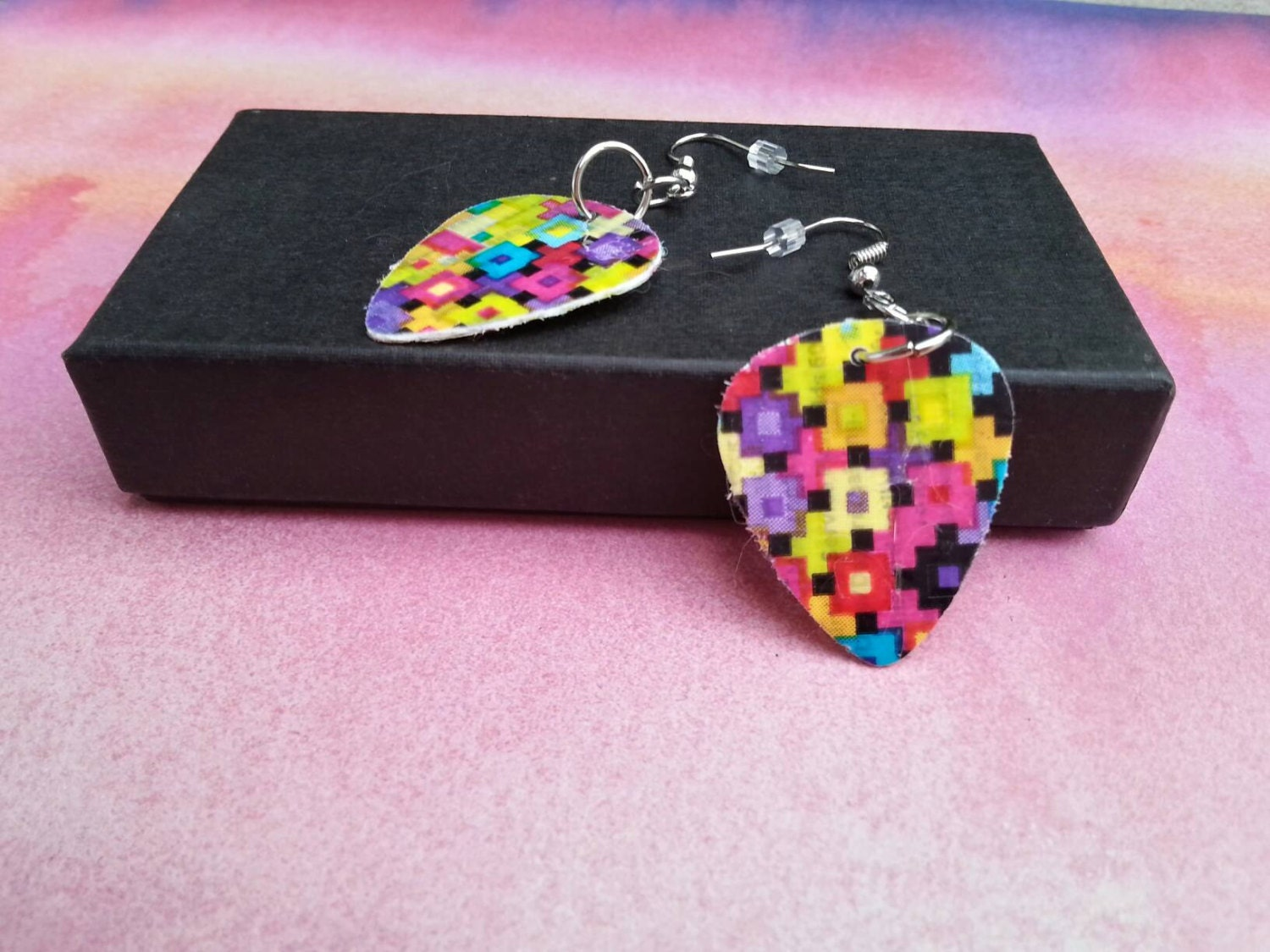 Guitar Pick Earrings Upcycled Duct Tape Retro Neon 2