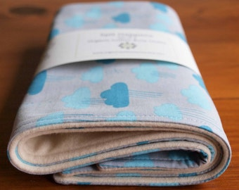 Burp Cloth Gift Set; Organic Cotton Burp Rags; Blue and Gray Rain Clouds New Baby Gift, Flannel Burping Pads, Dribble Cloths, CLOUDY DAYS
