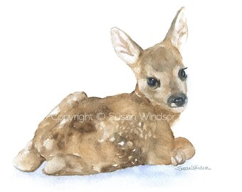 Watercolor Painting Deer Fawn Lying Down Fine Art Giclee Print 14 x 11 Nursery Art