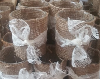 Burlap & Lace Votives W/Tealight Candle(Battery)