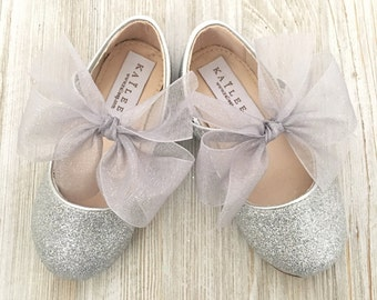 Infant girl shoes, Toddler girl shoes, Kids Girls Shoes -SILVER fine glitter mary-jane with glitter chiffon ribbon bow for flower girls
