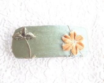 CLEARANCE - Sea Green barrette, chenille barrette, floral barrette, fabric barrette, fabric barrette, hair accessory, fashion accessory