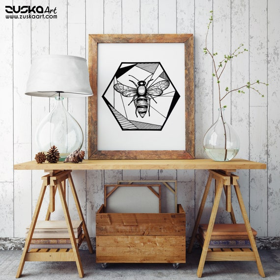 Honeycomb Bee | Enhanced Matte Paper Poster | Geometrical Art | Save The Bees | Ink Tattoo style | Black and White | ZuskaArt