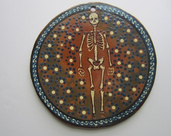 Vintage Mexican Day of the Dead Ceramic Plate Hand Painted Skeleton