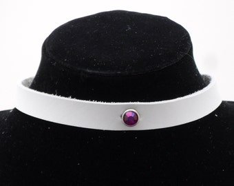 Thin Black or white choker with crystal focal point