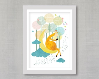 G for Giraffe, Animals Nursery Art, Jungle Nursery Decor, Woodland Animals, Print