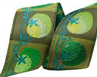 7/8-inch woven jacquard ribbon, green tomatoes
