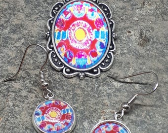 Necklace Earring Set, Bright Fun Necklace, Drop Dangle Earrings, Patterned Set, Choose Chain Length, Boho Pendant Earrings, Matching Set