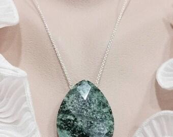 Green Zebra Jasper Necklace - Bold, Huge Pendant, Her Gift, Her Necklace, Black Necklace,  Statement Jewelry - Ladder or Teardrop