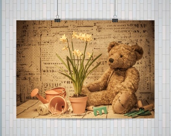 Teddy Bear, Teddy Bear Poster | A2 or A3 Poster Check below for sizes, Landscape Teddy Bear Poster (No Frame)