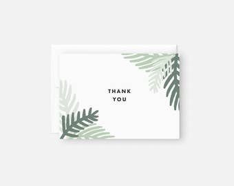 Thank You Card Set / Modern Thank You Notes / Green / Palm Leaf / Bridal Shower, Baby Shower, Engagement Party, Birthday