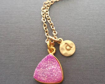 Pink Druzy Initial Necklace/Hot Pink Stone/ Pink Wedding/Gold Initial Necklace/ Bridesmaid Gift Pink Wedding/Fuchsia Stone Sparkly//GD22