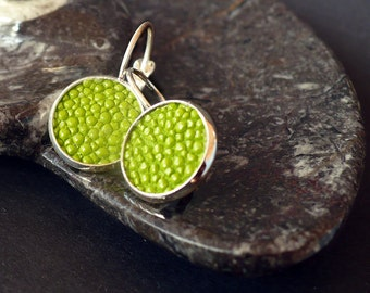 Greenery stingray leather earrings, lime green earrings, green stingray leather. trend 2017