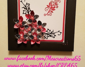 Picture framed paper - black and Red kusudama flowers Decoration