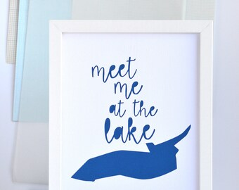 SALE Lake House Art, Great Lakes Art, Meet Me At Lake Ontario, Lake House Sign, Beach Decor, Nautical, Blue, White