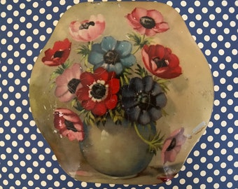 Vintage Floral & Gold Tin with Hinged Lid - Poppies
