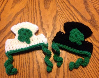 St Patrick's day cat hat, cat costume, crochet cat hat, crochet St Patrick's day cat hat, handmade, cat hat with ear holes, Ready to ship