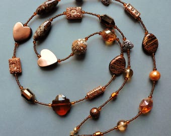 Brown necklace, Long necklace, extra long necklace, Copper necklace, Copper, Brown, Vintage style, Flapper, 1920's, Neutral colors