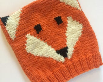 knit baby fox hat