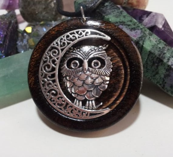 Owl Pendant, Owl and Moon Pendant in Burnt Oak, rustic jewelry, free shipping worldwide, owl and moon jewelry, owl jewelry,gypsy jewelry